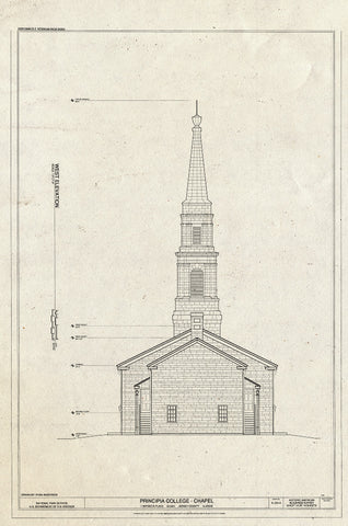 Blueprint West Elevation - Principia College, Chapel, 1 Maybeck Place, Elsah, Jersey County, IL