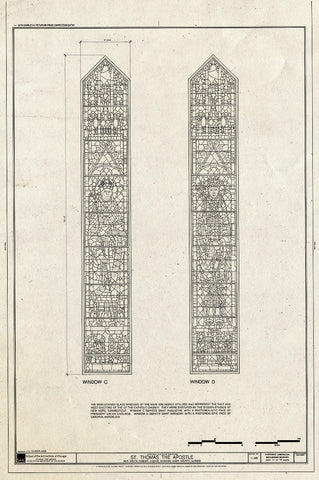 Blueprint Windows C & D - St. Thomas The Apostle Church, 5472 South Kimbark Avenue, Chicago, Cook County, IL