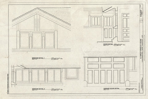 Blueprint Window Details, Door Detail, and Garage Door Detail - B. Harley Bradley House, 701 South Harrison Avenue, Kankakee, Kankakee County, IL