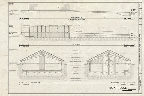 Blueprint West Elevation and Sections - Edith Farnsworth House, Boat House, 14520 River Road, Plano, Kendall County, IL