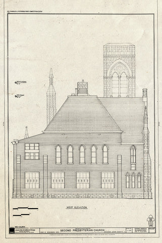 Blueprint West Elevation - Second Presbyterian Church, 1936 South Michigan Avenue, Chicago, Cook County, IL