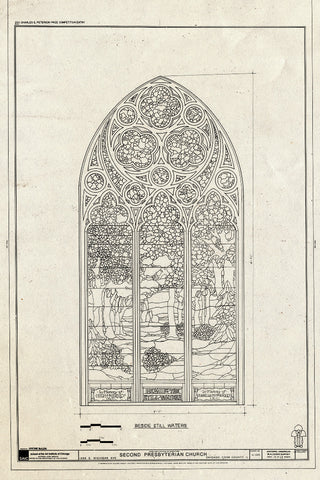 Blueprint Window - Beside Still Waters - Second Presbyterian Church, 1936 South Michigan Avenue, Chicago, Cook County, IL