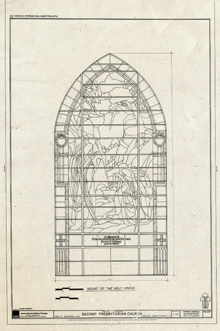 Blueprint Window - Mount of The Holy Cross - Second Presbyterian Church, 1936 South Michigan Avenue, Chicago, Cook County, IL