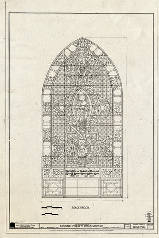 Blueprint Window - Peace Window - Second Presbyterian Church, 1936 South Michigan Avenue, Chicago, Cook County, IL