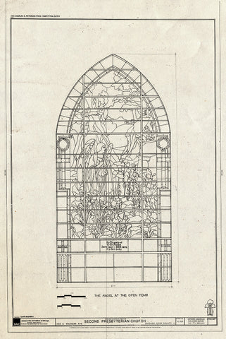 Blueprint Window - The Angel at The Open Tomb - Second Presbyterian Church, 1936 South Michigan Avenue, Chicago, Cook County, IL