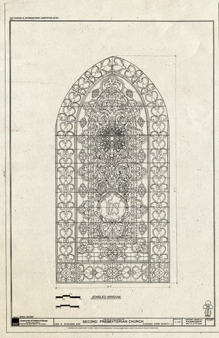 Blueprint Window - Jeweled Window - Second Presbyterian Church, 1936 South Michigan Avenue, Chicago, Cook County, IL
