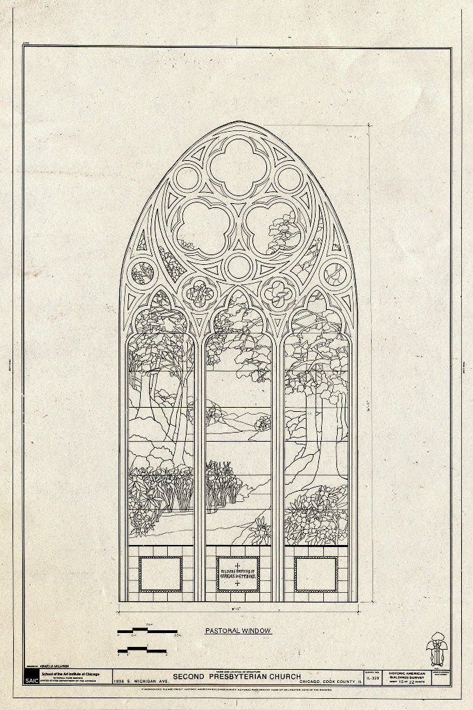 Blueprint Window - Pastoral Window - Second Presbyterian Church, 1936 South Michigan Avenue, Chicago, Cook County, IL