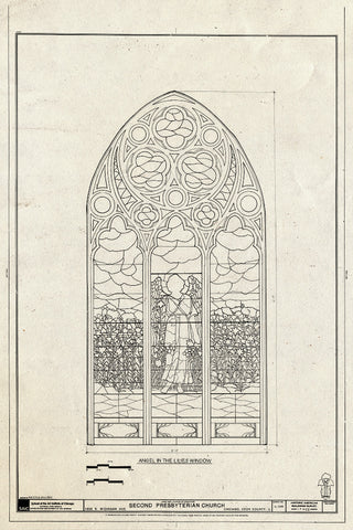 Blueprint Window - Angel in The Lilies Window - Second Presbyterian Church, 1936 South Michigan Avenue, Chicago, Cook County, IL