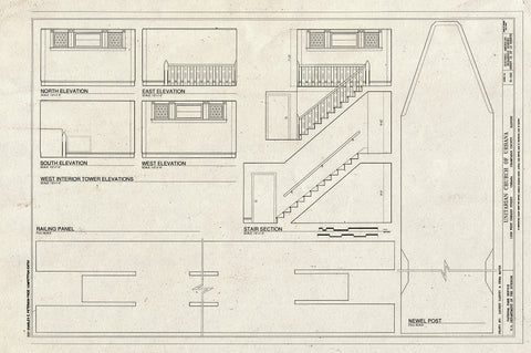 Blueprint West Interior Tower Elevations, Railing Panel, Stair Section, Newel Post - Unitarian Church of Urbana, 1209 West Oregon Street, Urbana, Champaign County, IL
