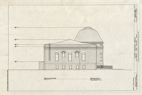 Blueprint West Elevation - Paxton Carnegie Library, 254 South Market Street, Paxton, Ford County, IL