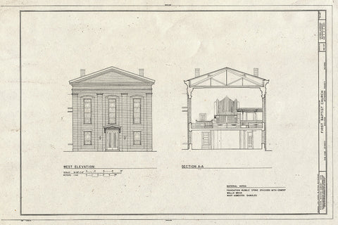 Blueprint West Elevation, Section A-A - First Baptist Church, 416 Vine Street, Madison, Jefferson County, in