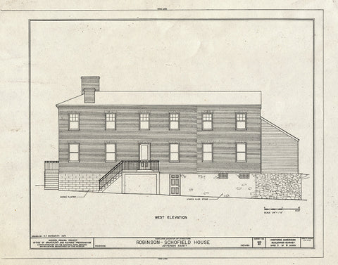 Blueprint West Elevation - Robinson-Schofield House, 221 West Second Street, Madison, Jefferson County, in