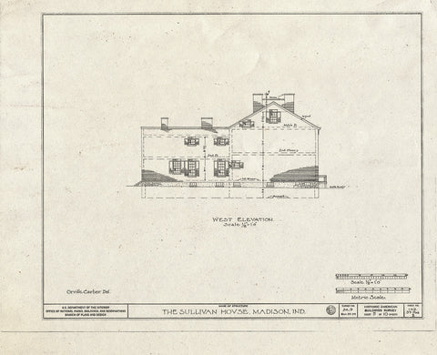Blueprint West Elevation - Judge Jeremiah Sullivan House, 304 West Second Street, Madison, Jefferson County, in