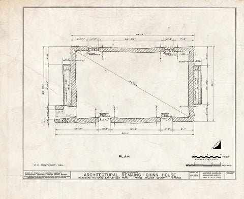 Blueprint HABS VA,76-GROV,1- (Sheet 1 of 3) - Chinn House (Remains), Groveton, Prince William County, VA
