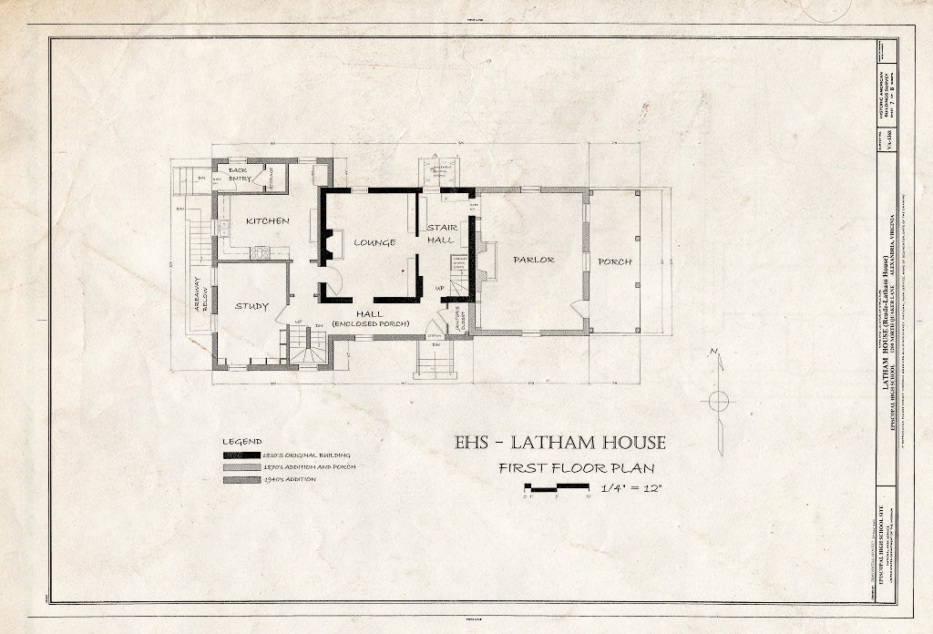 Blueprint HABS VA,7-Alex,183 (Sheet 7 of 8) - Latham House, 1200 North Quaker Lane, Alexandria, Independent City, VA