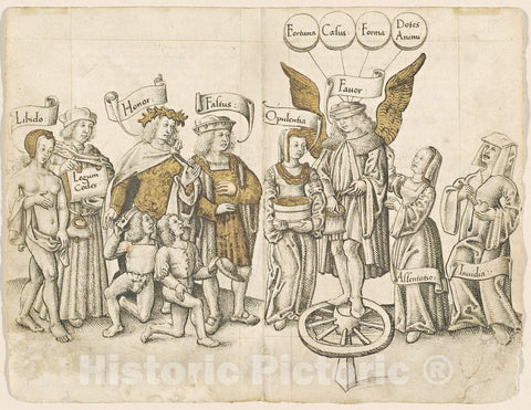 Art Print : A Dialogue on Human Favor (Recto) [FOL. 15 Verso / 16 Recto], c.1513 - Vintage Wall Art