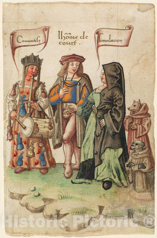 Art Print : A Courtier Standing Between Covetousness and Dissimulation [FOL. 14 Recto], c.1513 - Vintage Wall Art