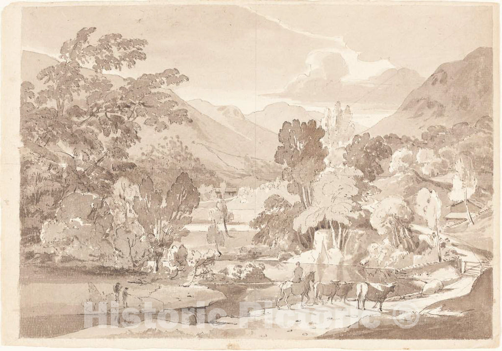 Art Print : A Mountainous Landscape, First Half 19th Century - Vintage Wall Art