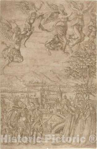 Art Print : A King and His Retinue Confronting Ladies Under a Celestial Battle, c. 1600 - Vintage Wall Art