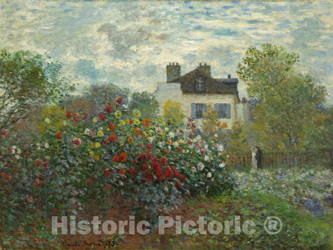 Art Print : Claude Monet, The Artist's Garden in Argenteuil (A Corner of The Garden with Dahlias), 1873 - Vintage Wall Art