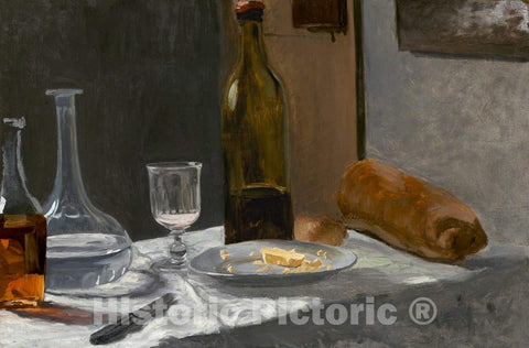 Art Print : Claude Monet, Still Life with Bottle, Carafe, Bread, and Wine, c.1863 - Vintage Wall Art