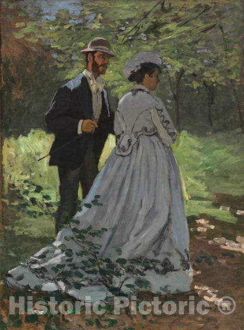 Art Print : Claude Monet, Bazille and Camille (Study for Déjeuner sur l'Herbe), 1865 - Vintage Wall Art