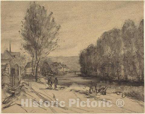 Art Print : A Landscape with a River - Vintage Wall Art