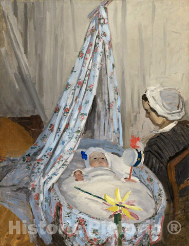 Art Print : Claude Monet, The Cradle - Camille with The Artist's Son Jean, 1867 - Vintage Wall Art