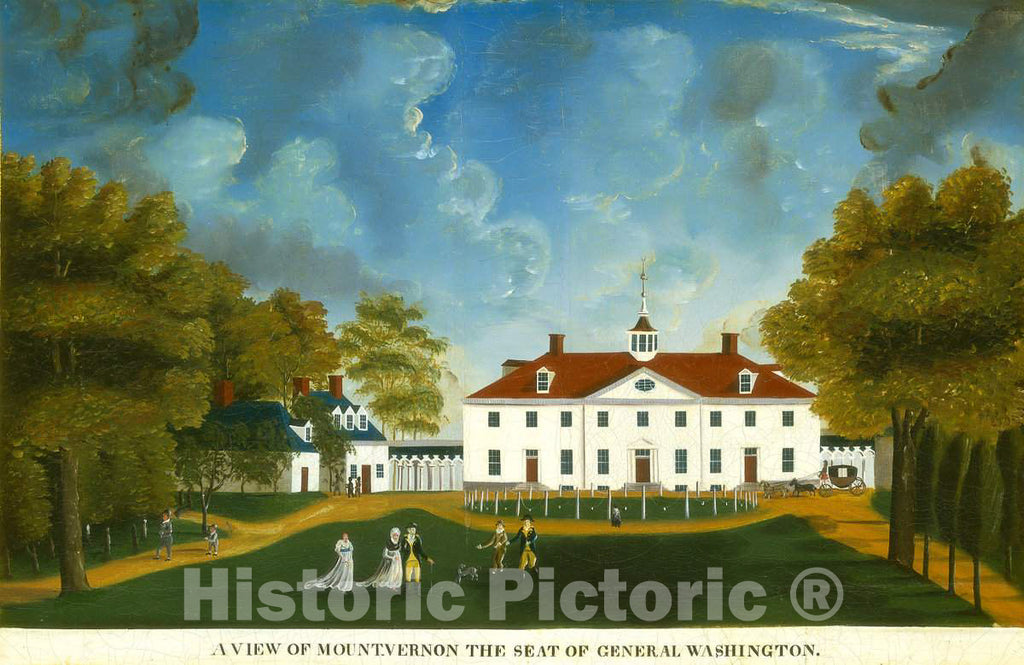 Art Print : A View of Mount Vernon, 1792 or After - Vintage Wall Art