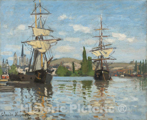 Art Print : Claude Monet, Ships Riding on The Seine at Rouen, c.1873 - Vintage Wall Art