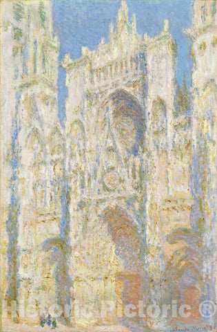 Art Print : Claude Monet, Rouen Cathedral, West Façade, Sunlight, 1894 - Vintage Wall Art