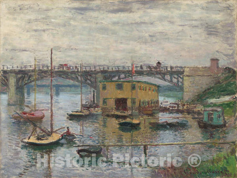 Art Print : Claude Monet, Bridge at Argenteuil on a Gray Day, c. 1876 - Vintage Wall Art