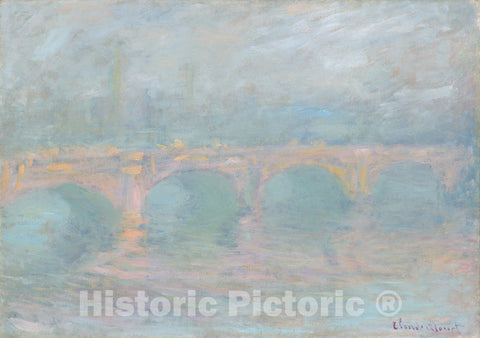 Art Print : Claude Monet, Waterloo Bridge, London, at Sunset, 1904 - Vintage Wall Art