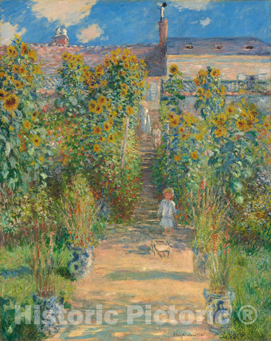 Art Print : Claude Monet, The Artist's Garden at Vétheuil, 1880 - Vintage Wall Art