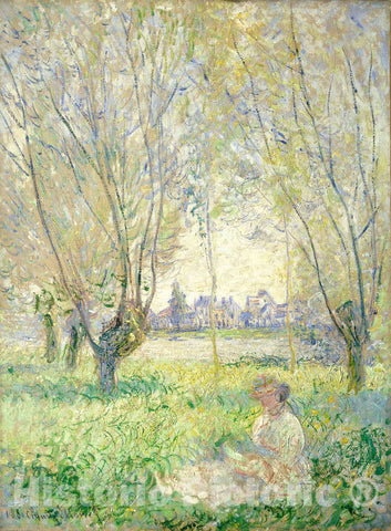 Art Print : Claude Monet, Woman Seated Under The Willows, 1880 - Vintage Wall Art