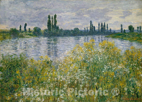 Art Print : Claude Monet, Banks of The Seine, Vétheuil, 1880 - Vintage Wall Art