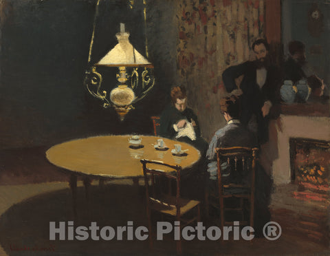 Art Print : Claude Monet, Interior, After Dinner, c.1869 - Vintage Wall Art