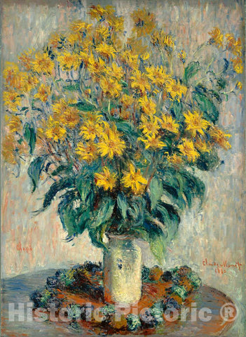 Art Print : Claude Monet, Jerusalem Artichoke Flowers, 1880 - Vintage Wall Art