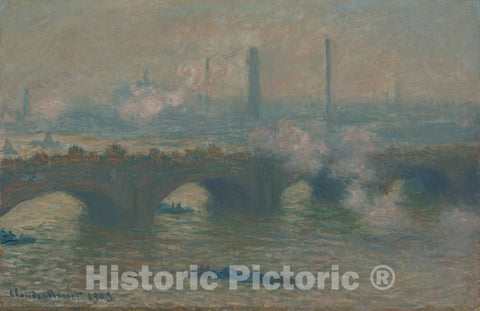 Art Print : Claude Monet, Waterloo Bridge, Gray Day, 1903 - Vintage Wall Art