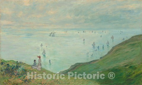 Art Print : Claude Monet, Cliffs at Pourville, 1882 - Vintage Wall Art