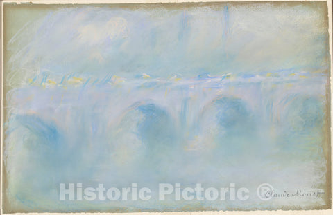 Art Print : Claude Monet, Waterloo Bridge, 1901 - Vintage Wall Art