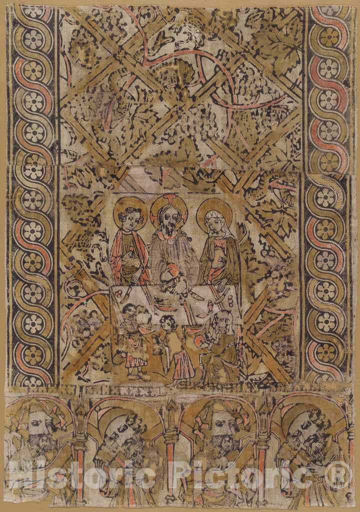 Art Print : A Lectern Cloth with The Marriage at Cana, c. 1400 - Vintage Wall Art