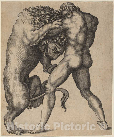 Art Print : Hercules and The Nemean Lion, c. 1550 - Vintage Wall Art
