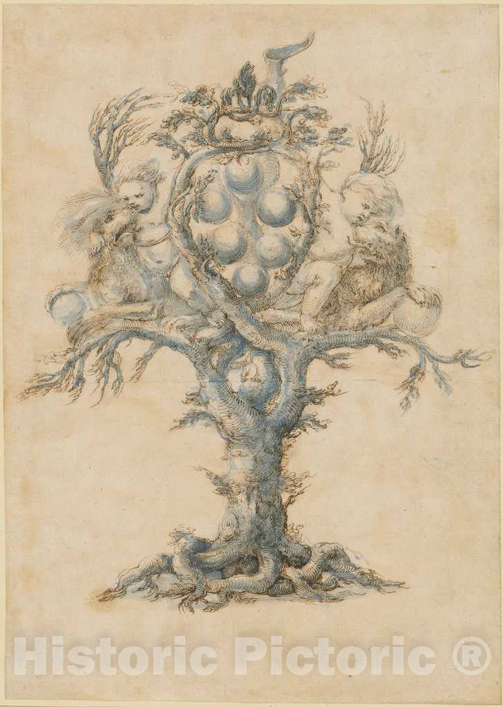 Art Print : A Wine Decanter with Lions and Putti, c.1660 - Vintage Wall Art