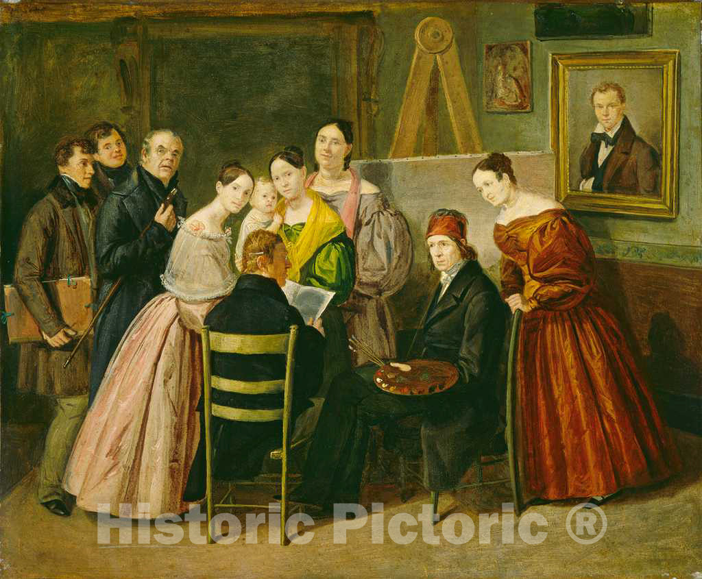 Art Print : A Painter and Visitors in a Studio, c. 1835 - Vintage Wall Art