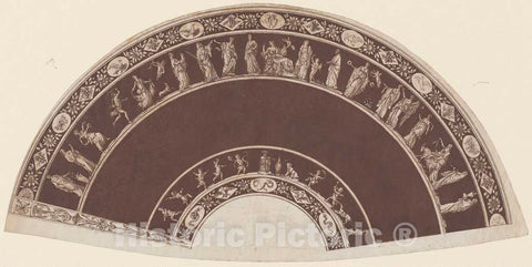 Art Print : A Fan with Classical Figures Processing to Apollo, c. 1795 - Vintage Wall Art