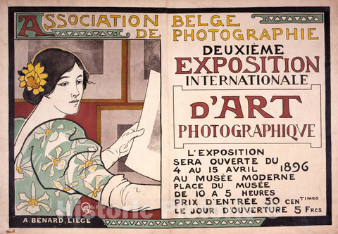 Vintage Poster -  Deuxième éxposition International d'art photographique, Association Belge de Photographie  -  A.B., Historic Wall Art