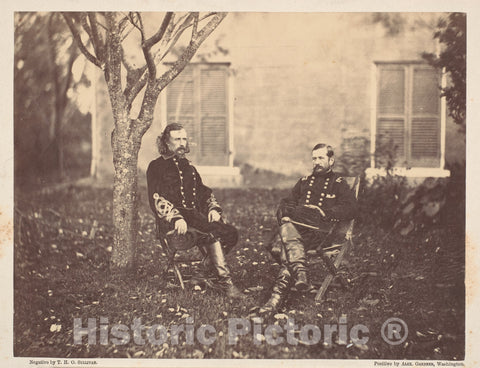 Photo Print : Timothy H. O'sullivan - Major General Pleasanton and General Custer : Vintage Wall Art