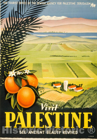 Vintage Poster -  Visit Palestine -  See Ancient Beauty revived -  Loeb., Historic Wall Art