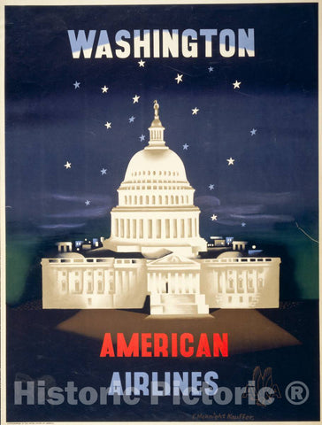 Vintage Poster -  Washington, American Airlines -  E. McKnight Kauffer., Historic Wall Art